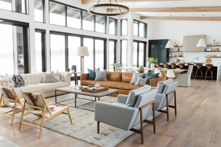 Arredare salotto e sala da pranzo insieme, divano in pelle marrone, cucina con isola centrale