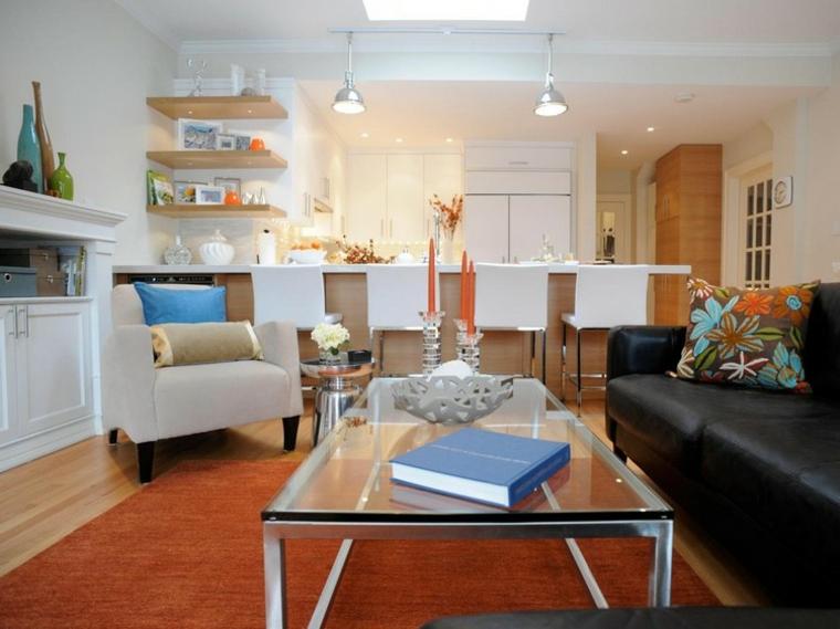 Open space cucina e salotto con design moderno 2 in 1 for Colori mobili moderni