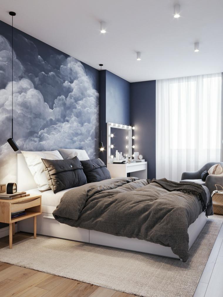 parete dipinta dietro letto camera matrimoniale piccola como legno lampada faretti