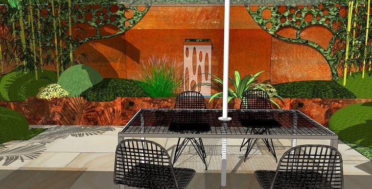 parete divisoria corten patio design moderno