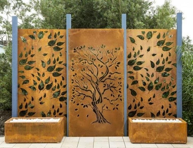 parete divisoria esterno corten decorata foglie
