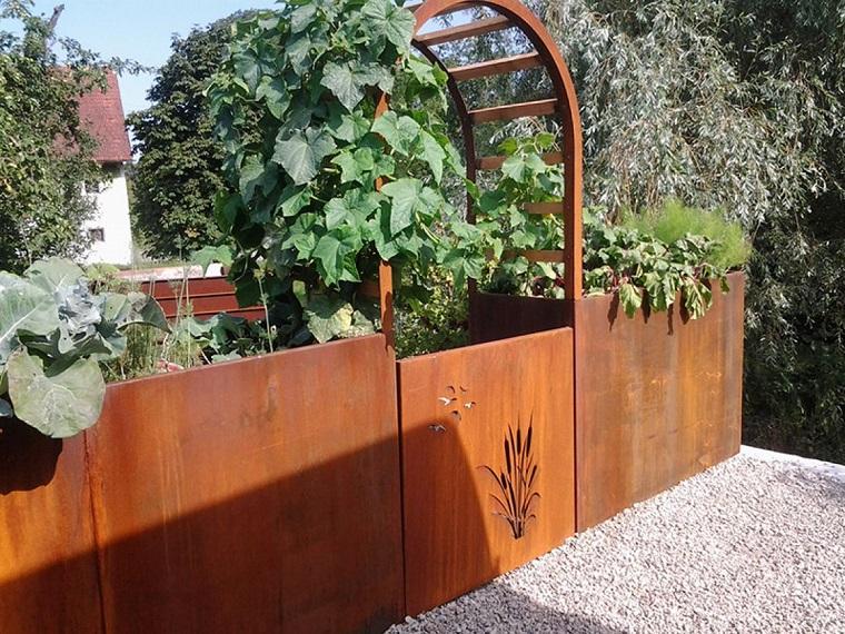 parete divisoria giardino corten lavorata