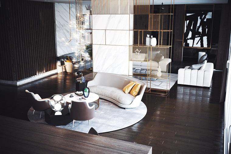 Soluzioni per dividere soggiorno e cucina, divano bianco angolare, stanza con pavimento in parquet