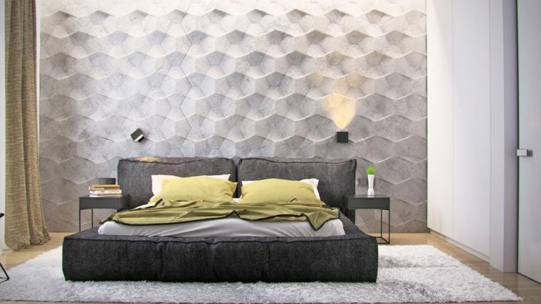 parete letto decorata carta parati lussuosa