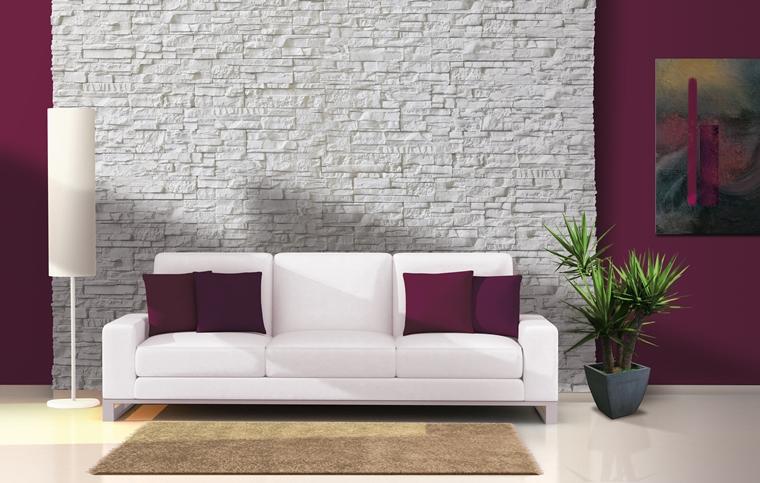 Rivestimenti in pietra in soggiorno moderno - idee di design ...