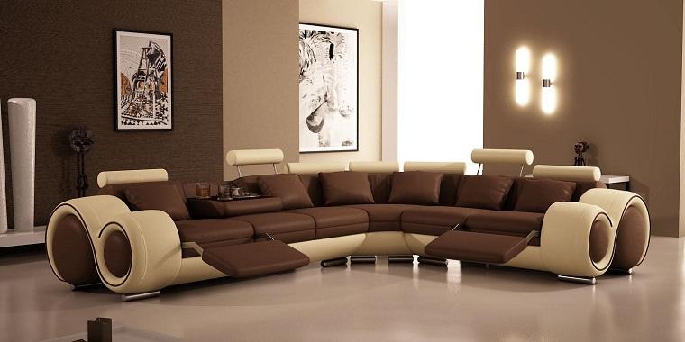 parete soggiorno marrone scuro divano moderno