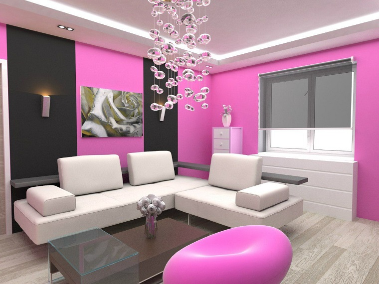 parete soggiorno rosa arredamento moderno