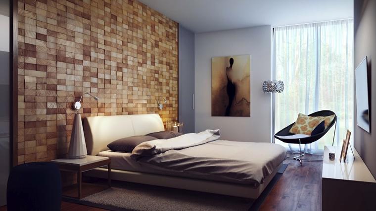 pareti camera da letto tridimensionale legno