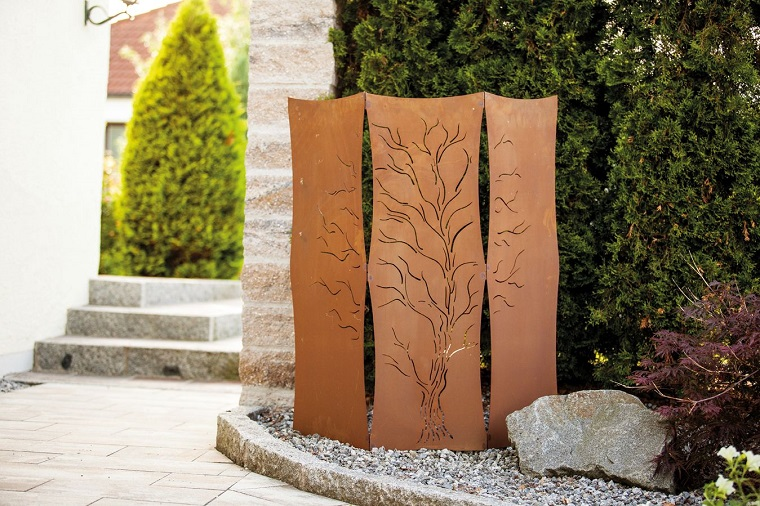 pareti divisorie corten giardino decori