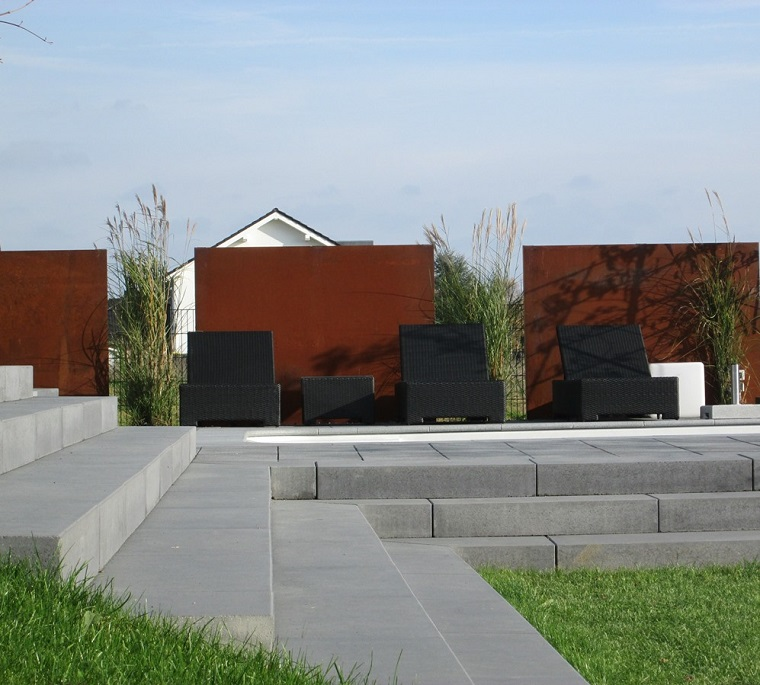 pareti divisorie corten patio moderno