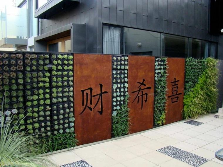pareti divisorie esterno corten lettere giapponesi