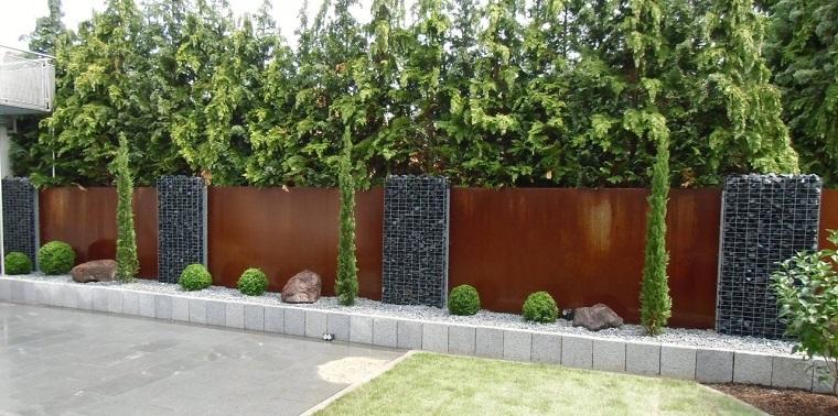 pareti divisorie giardino corten gabbioni metallici