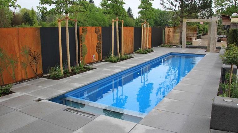 pareti divisorie giardino piscina corten