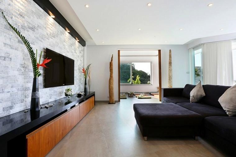 Rivestimenti in pietra in soggiorno moderno idee di for Pittura soggiorno moderno