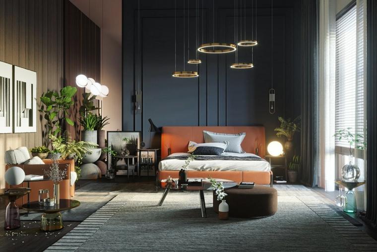 pareti pannelli lampade anelli idee arredamento camera da letto tappeto