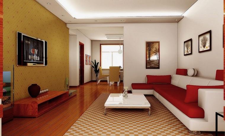 pareti soggiorno carta parati pavimento legno