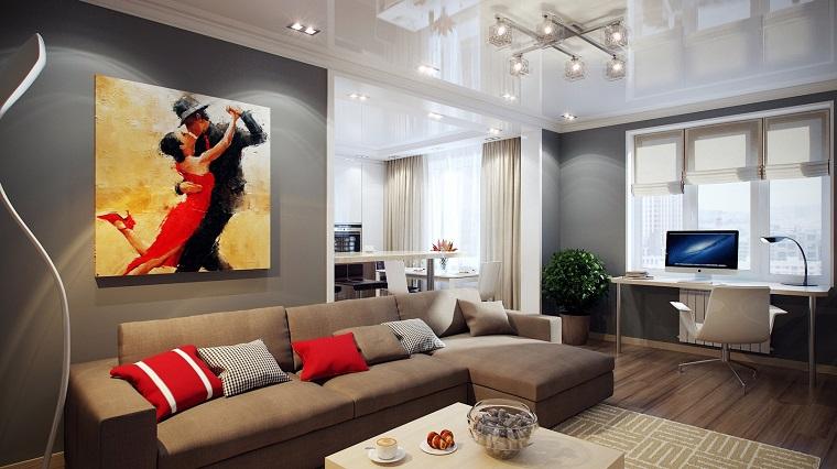 pareti soggiorno color grigio look elegante