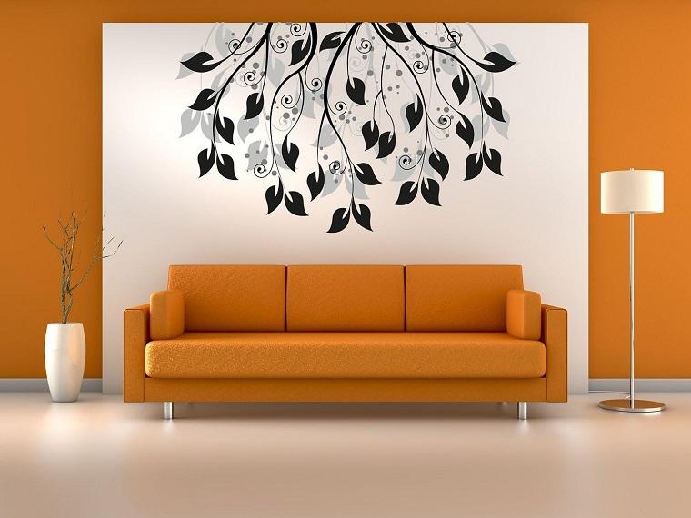 pareti soggiorno decorate bianco nero