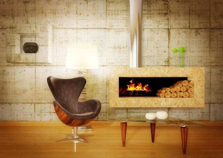pareti soggiorno tonalita calde design industriale
