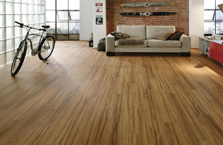 pavimento laminato parete industrial design mattoni vista