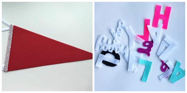 pezzo di carta a triangolo lettere di feltro ghirlande natalizie per balconi