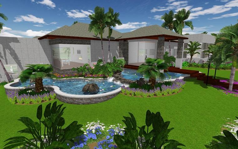 Progettazione giardino 3d creare l 39 area verde online for Rendering giardino