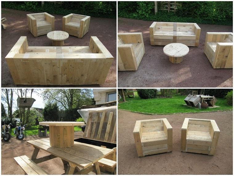 riciclo bancali set mobili giardino