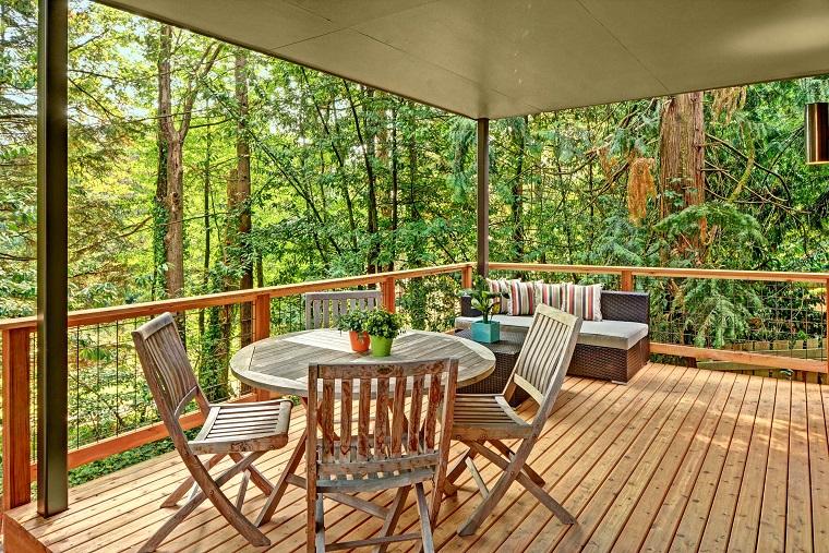 ringhiere per balconi legno acciaio
