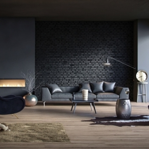 Rivestimenti in pietra in un soggiorno moderno - idee di design e stile