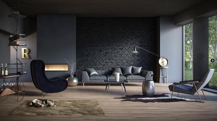 Rivestimenti In Pietra In Soggiorno Moderno Idee Di Design E Stile