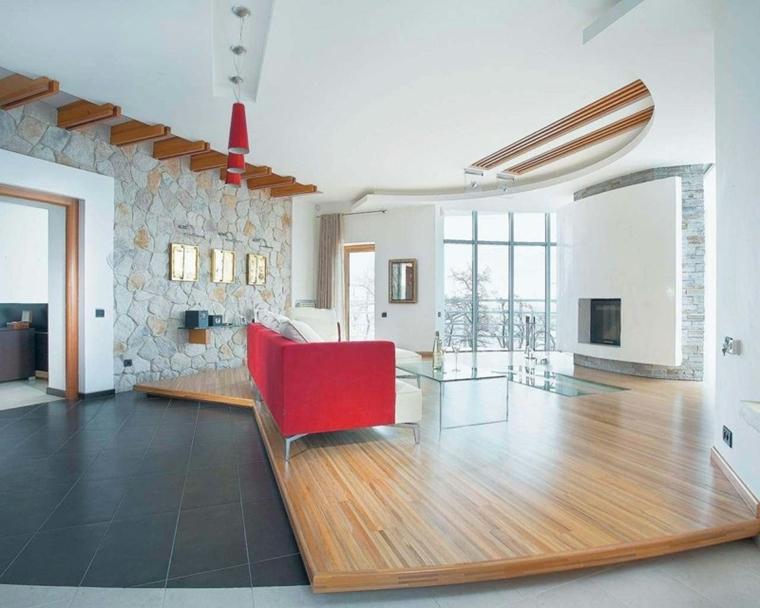 Rivestimenti in pietra in soggiorno moderno idee di design e stile - Podest wohnzimmer ...