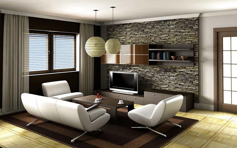 salone moderno divani design bianchi parete decorata