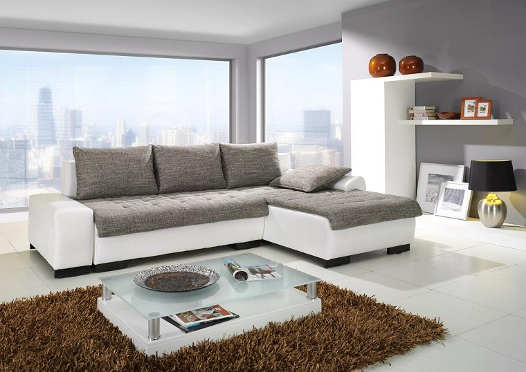 salone moderno divano bianco grigio