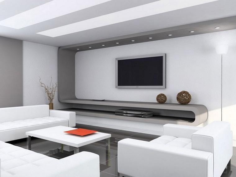 salone moderno mobili chiari lineari