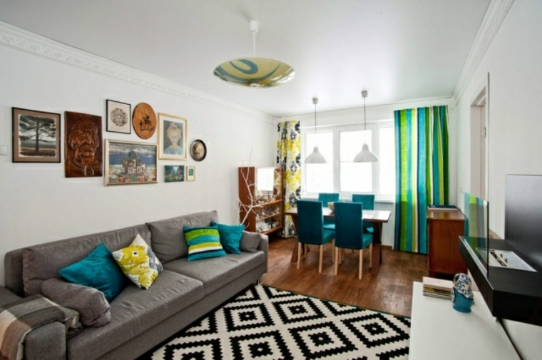 salotto colorato vivace design contemporaneo