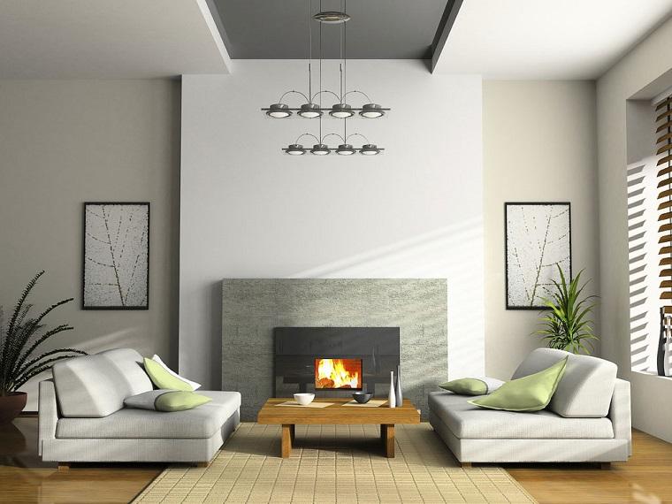 salotto moderno divani bianchi pareti grigio chiaro