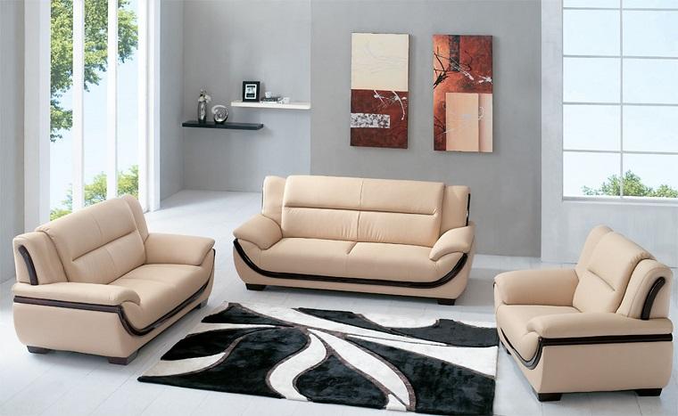 salotto moderno divani design tappeto bianco nero