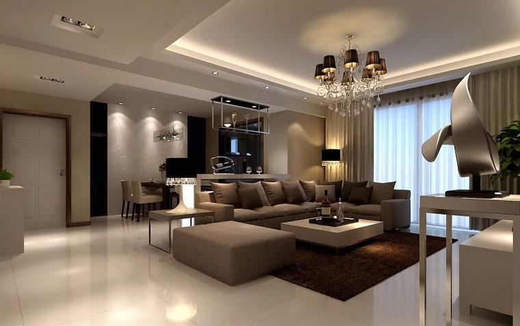 salotto moderno tonalita beige lampadario elegante
