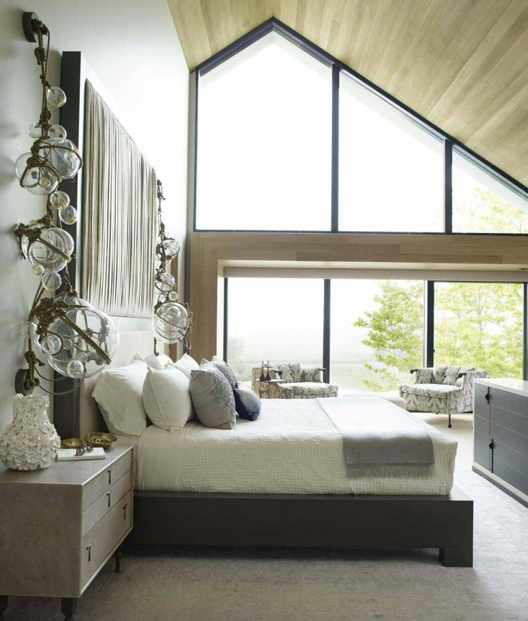soffitto pendenza legno immagini camere da letto moderne como cuscini pannelli parete