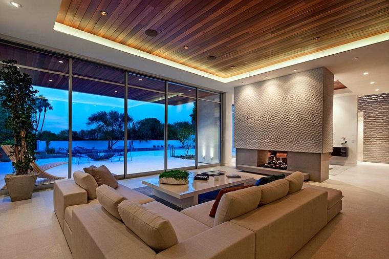Soffitti In Legno Design : Soffitto e alcune finiture spettacolari per il soggiorno archzine