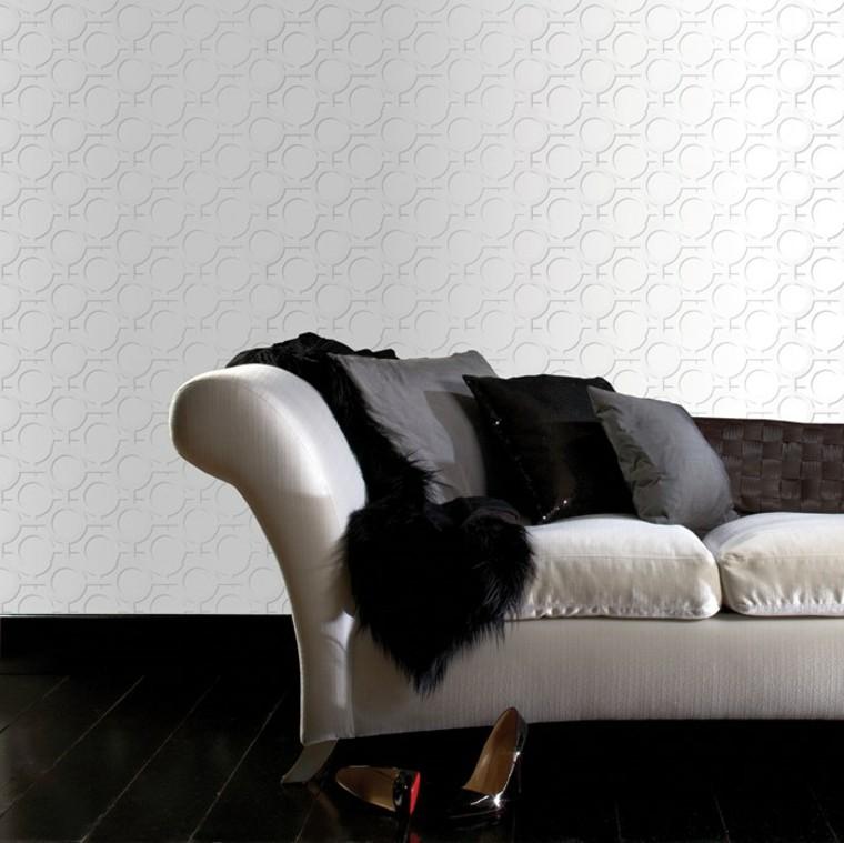 soggiorno moderno decorato tappezzeria effetto 3d