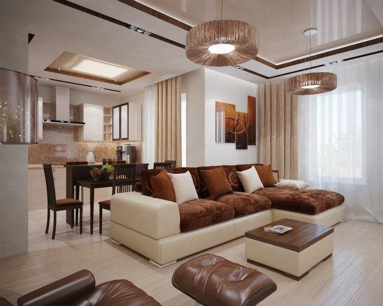 soggiorno moderno originale colori caldi