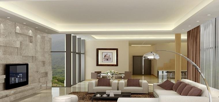 Soffitto e alcune finiture spettacolari per il soggiorno for Illuminazione soggiorno moderno