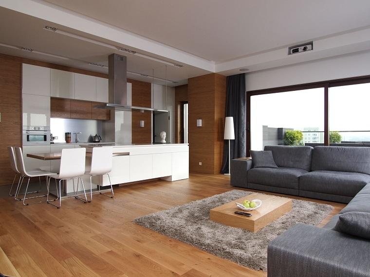 soggiorno open space pavimento legno