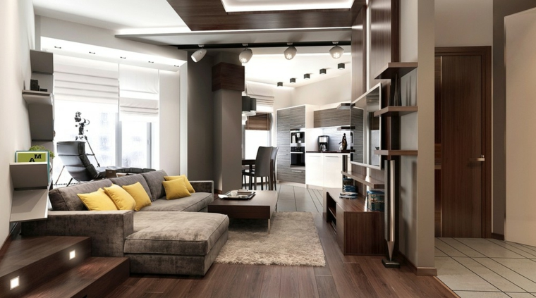 Come arredare sala e salotto insieme, divano di colore grigio, stanza con pavimento in parquet
