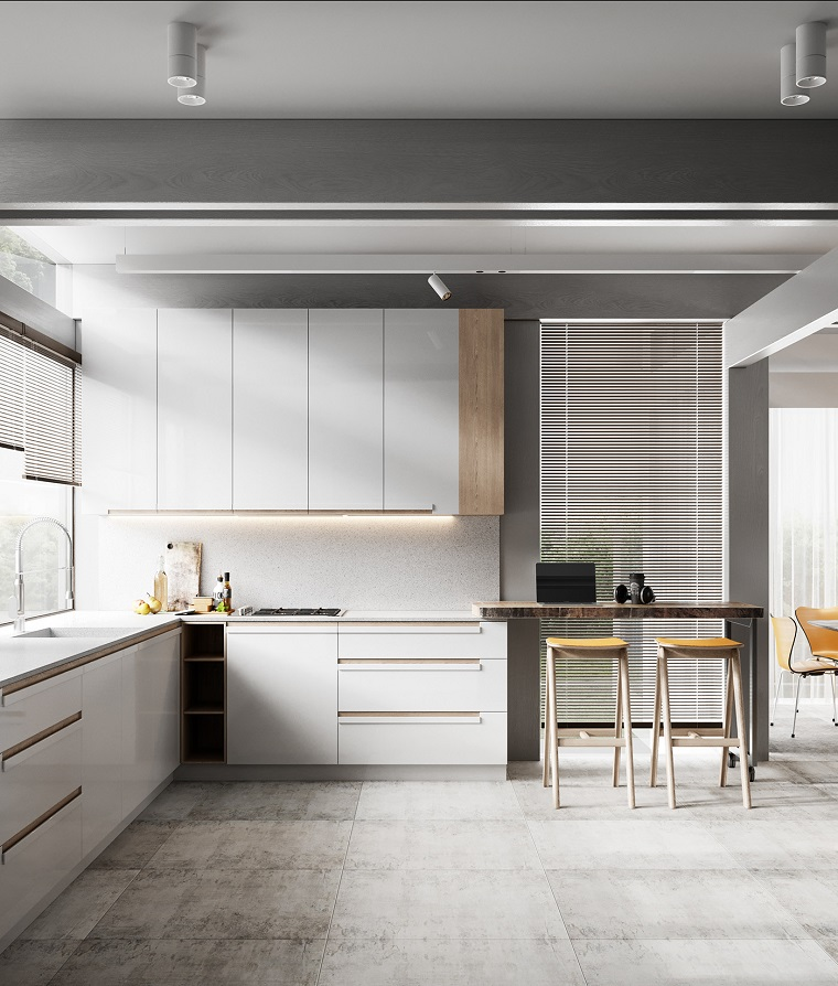 Open space - cucina e salotto con design moderno 2 in 1 ...