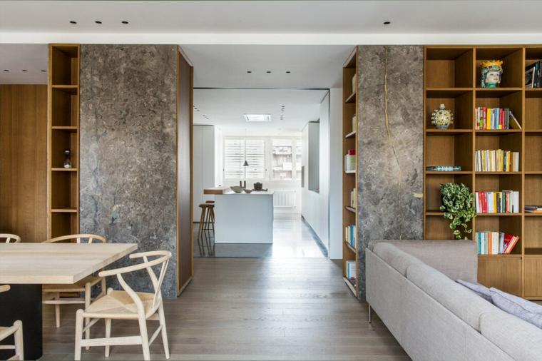 Open space soggiorno cucina progetti, divano di colore grigio, set tavolo da pranzo