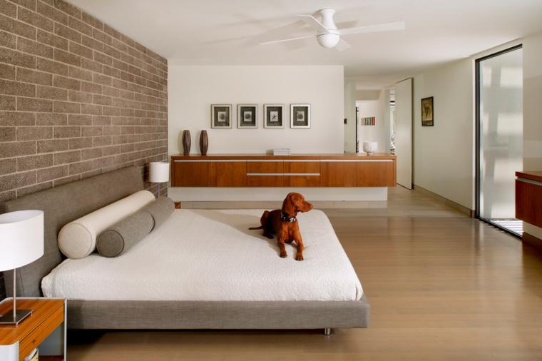 stanza da letto moderna carta parati effetto pietra letto