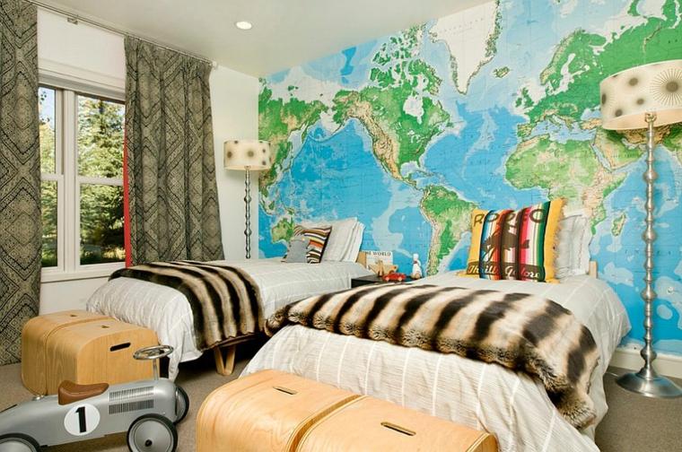 stanza da letto moderna carta parati mappamondo letto