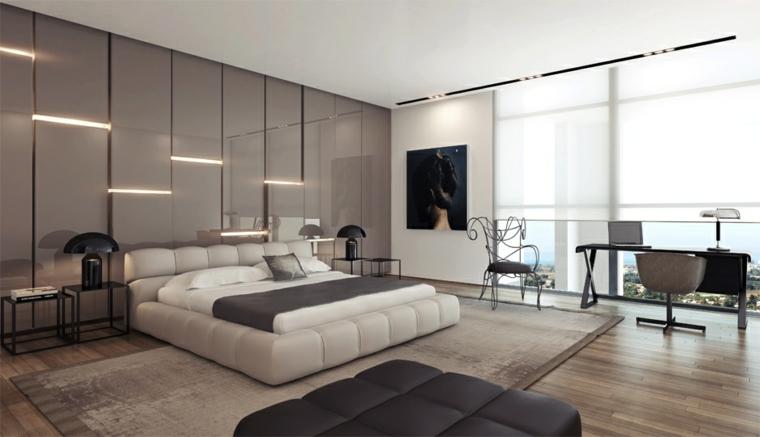 Stanza da letto moderna con parete di design speciale dietro ...